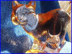 Sweden Kosta Boda Paul Hoff Lynx art glass figurine WWF animals Wildlife fund