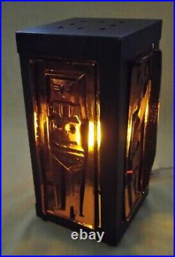 TABLE LAMP RELIEF GLASS PLATES in PATINATED COPPER KOSTA BODA ERIK HOGLUND