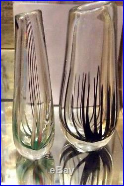 TWO LARGE EXAMPLES. KOSTA VICKE LINDSTRAND GLASS VASES, offered together