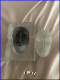 Three Piece Kosta Boda Brains Face Head Sculpture Bertil Vallien Numbered 90035