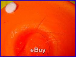 Transjo Hytta Art Glass Hand Blown Modern YellowithOrange Center Bowl Kosta, Sweden