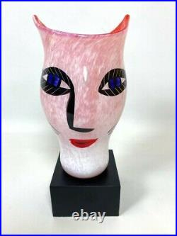 ULRICA HYDMAN VALLIEN FOR KOSTA BODA-HAND PAINTED 8 OPEN MINDS VASE-With STAND