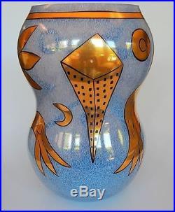 Ulrica Hydman-Vallien Kosta Boda Tall Glass Vase Gold Sea Creatures 1994