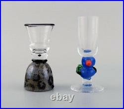 Ulrica Hydman Vallien for Kosta Boda. Four unique glasses / vases