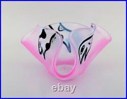 Ulrica Hydman Vallien for Kosta Boda. Large bowl in pink mouth blown art glass
