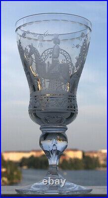 VICKE LINDSTRAND KOSTA BODA Snaps Glass Etched Dalecarlia Motifs, 1960s