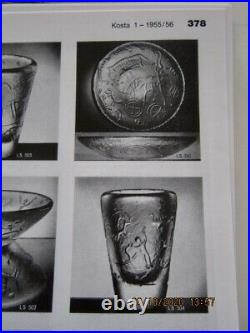 VICKE LINDSTRAND KOSTA SWEDEN glass cavemen vase, mid century. 1955