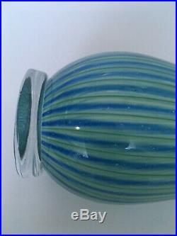 Vicke Lindstrand Colora Unik (Unique) green& blue Vase, Kosta, MCM, Sweden