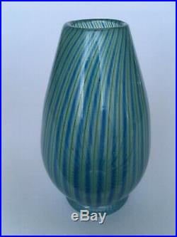 Vicke Lindstrand Colora Unik(Unique) green& blue Vase, Kosta, Sweden