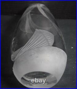 Vicke Lindstrand Etched Kosta Crystal/Glass Vase, Fishing Subject
