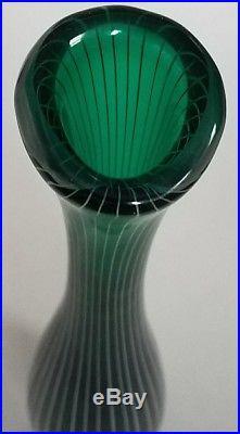 Vicke Lindstrand KOSTA Sweden Striped Green Zebra Vase