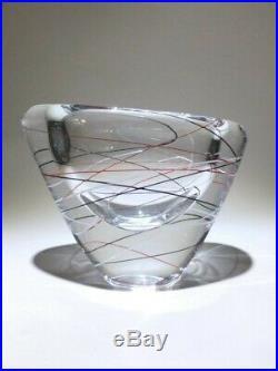 Vicke Lindstrand Kosta Sweden Mid Century 1950's Threaded Bowl Vase Signed