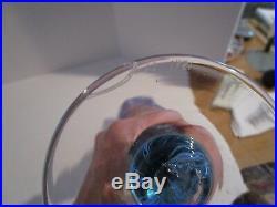 Vintage 1981 VANDERMARK Iridescent Pullet Feather 14 Art Glass Vase-Pink & Blue
