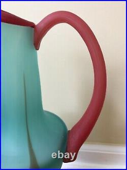 Vintage 1989 KOSTA BODA Art Glass Pitcher Vase Unique Bold 15 Tall Excellent