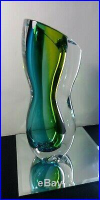 Vintage 1990's KOSTA BODA GREEN BLUE VASE ODD SHAPED 12