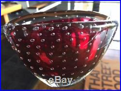 Vintage 60s Vicke Lindstrand Bubble Encased Vase / Bowl in Red for Kosta Sweden