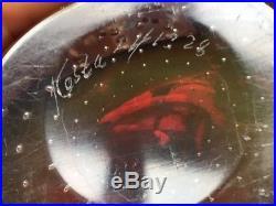 Vintage 60s Vicke Lindstrand Bubble Encased Vase / Bowl in Red for Kosta Sweden