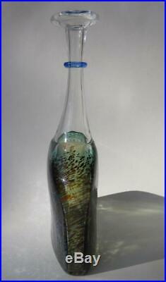 Vintage 90s Swedish Art Glass Bertil Vallien Kosta Boda Satellite 7 Bottle Vase