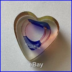 Vintage Bertie Valien Kosta Boda Sweden Mini Art Glass Heart Sculpture