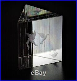 Vintage Birds in Cage Art Glass Paperweight Vicke Lindstrand Kosta Boda Sweden