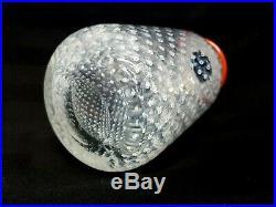 Vintage Boda Bertil Vallien White Bubbled Control Red Lip 8' Art Glass Vase