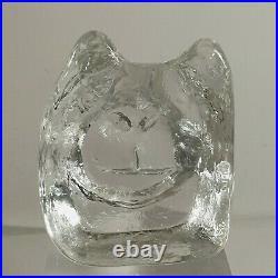 Vintage ERIK HOGLUND Boda Studio Glass Brutalist Dog Head Sculpture Signed