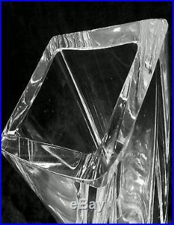 Vintage Göran Wärff Kosta Boda Sweden Modernist heavy crystal vase 8.75 inches