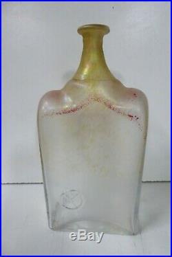 Vintage Kosta Boda Bertil Vallien Art Glass Bottle Vase Embossed Man In Hat