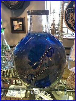 Vintage Kosta Boda Bertil Vallien Satellite Blue Art Glass Vase 13 Height