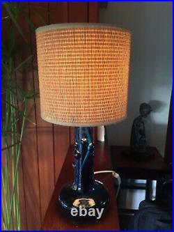 Vintage Kosta Boda Blue Bubble Glass Lamp by Ove Sandeberg