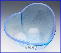 Vintage Kosta Boda Blue Glass Heart Shaped Bowl Signed 20th C