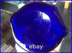 Vintage Kosta Boda Erik Hoglund Bottle / Vase with Lady and Bull in Cobalt Blue