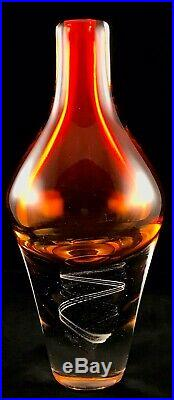 Vintage Kosta Boda Fire Orange Glass Vase Klas-Goran Tinback Swedish Art Glass