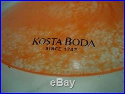 Vintage Kosta Boda Kjell Engman Swedish Art Glass Vase Female Form Orange Green