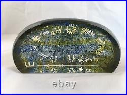 Vintage Kosta Boda Lappland Series Petroglyph Paperweight by Goran Warff
