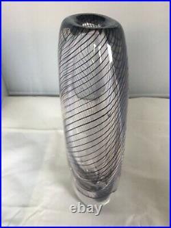 Vintage Kosta Boda Large Spiral Graal Vase by Vicke Lindstrand Signed LH 1382