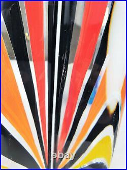 Vintage Kosta Boda Monica Backstrom Art Glass Painted Prism Sculpture Signed