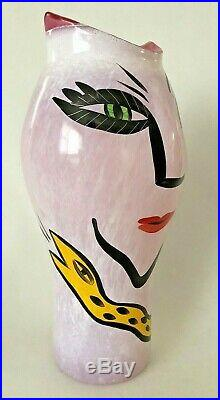 Vintage Kosta Boda Pink Art Glass Open Minds Vase by Ulrica Hydman-Vallian