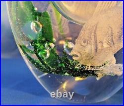 Vintage Kosta Boda Sweden Seaweed Vase with Engraved Fish by Vicke Lindestrand