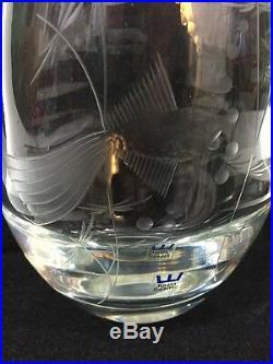 Vintage Kosta Vase Sweden Signed Numbered Engraved Fish Large Mid Century Modern