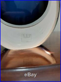 Vintage MCM 1950s Vicke Lindstrand Navy Blue Teardrop Vase Kosta Boda LH 418/25
