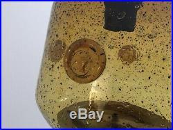 Vintage Mid Century Erik Hoglund for Kosta Boda Bull Motif Amber Pendant Light