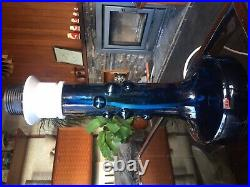 Vintage Ove Sandeberg Blue Bubble Glass Lamp for Kosta Boda