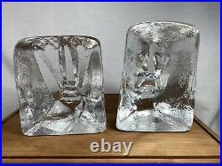 Vintage PAIR BODA GLASS HEAD SCULPTURES Erik Hoglund Bookends Face Paperweight