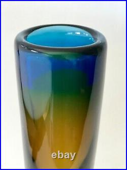 Vintage Vicke Lindstrand 26.5cm Cylindrical Glass Vase. Kosta Sweden c. 1960s