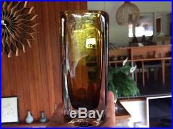 Vintage Vicke Lindstrand Amber Sommerso Vase with Kosta Sweden Label