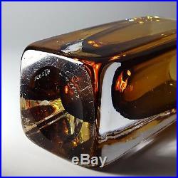 Vintage Vicke Lindstrand for Kosta Boda Amber Cased Glass Vase c1960's