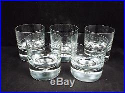 Vtg Kosta Boda Pippi 5 Old Fashioned Tumbler Glasses, Bubble Base, 9oz, 3 5/8