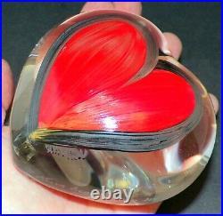 XL Kosta Boda Hand Painted Ulrica Hydman Vallien Red Heart Paperweight/figure