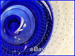 Zoom Cobalt Blue/ Clear Controlled Bubbles Vase Goran Warff for Kosta Boda